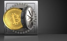 3d bitcoin over black. 3d illustration of metal safe with bitcoin over black background Royalty Free Stock Photos