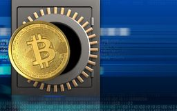3d bitcoin over cyber. 3d illustration of metal safe with bitcoin over cyber background Stock Image
