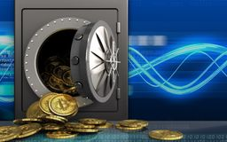 3d bitcoins heap over digital waves Stock Illustration