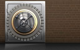 3d closed bank door safe. 3d illustration of metal safe with closed bank door over bricks background Royalty Free Stock Photo