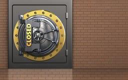 3d safe closed vault door. 3d illustration of metal safe with closed vault door over bricks wall background Royalty Free Stock Photos