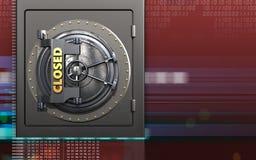 3d closed vault door closed vault door. 3d illustration of metal safe with closed vault door over digital red background Royalty Free Stock Image