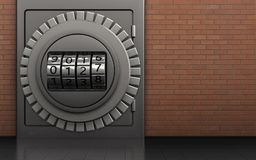 3d metal safe metal safe. 3d illustration of metal safe with code dial over red bricks background Royalty Free Stock Photos
