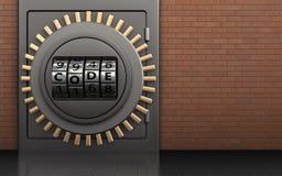 3d metal safe safe. 3d illustration of metal safe with code dial over red bricks background Royalty Free Stock Photos