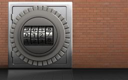 3d metal safe safe. 3d illustration of metal safe with code dial over red bricks background Royalty Free Stock Photography