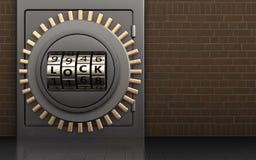 3d safe metal safe. 3d illustration of metal safe with code lock door over bricks background Stock Photography