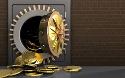 3d coins over bricks. 3d illustration of metal safe with coins over bricks background royalty free illustration