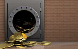 3d coins over bricks wall. 3d illustration of metal safe with coins over bricks wall background Royalty Free Stock Images