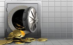 3d coins over white wall Royalty Free Stock Image