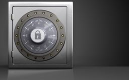 3d combination lock metal safe. 3d illustration of metal safe with combination lock over black background Stock Photo