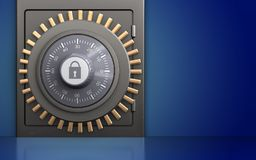 3d metal safe safe. 3d illustration of metal safe with combination lock over blue background Royalty Free Stock Photos
