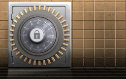 3d metal safe metal safe. 3d illustration of metal safe with combination lock over golden wall background Stock Photography