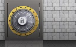 3d combination lock combination lock. 3d illustration of metal safe with combination lock over white stones background Stock Photo