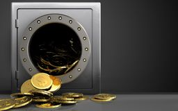 3d dollar coins over black. 3d illustration of metal safe with dollar coins over black background Royalty Free Stock Image