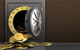 3d dollar coins over bricks. 3d illustration of metal safe with dollar coins over bricks background Royalty Free Stock Image