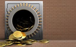 3d dollar coins over bricks wall Royalty Free Stock Photography