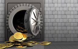 3d dollar coins over white stones. 3d illustration of metal safe with dollar coins over white stones background Royalty Free Stock Photography