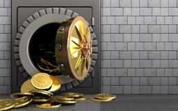3d dollar coins over white stones Royalty Free Stock Photo