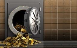 3d golden coins over golden wall. 3d illustration of metal safe with golden coins over golden wall background Stock Image