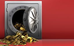 3d golden coins over red Royalty Free Stock Images