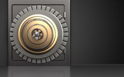3d safe metal safe. 3d illustration of metal safe with golden vault door over black background Stock Images