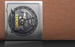 3d metal safe locked vault door. 3d illustration of metal safe with locked vault door over red bricks background Royalty Free Stock Image