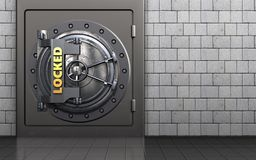3d locked vault door safe. 3d illustration of metal safe with locked vault door over white stones background Royalty Free Stock Photo