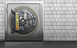 3d metal safe security door. 3d illustration of metal safe with security door over white stones background Stock Image