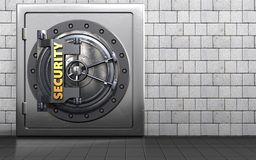 3d security door safe. 3d illustration of metal safe with security door over white stones background Stock Photos