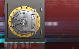 3d metal safe steel bank door. 3d illustration of metal safe with steel bank door over digital red background Stock Photography