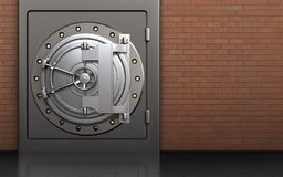 3d metal safe steel bank door. 3d illustration of metal safe with steel bank door over red bricks background Royalty Free Stock Image