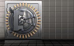 3d steel door steel door. 3d illustration of metal safe with steel door over steel wall background Stock Photos