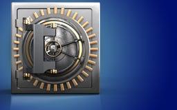 3d vault door vault door. 3d illustration of metal safe with vault door over blue background Royalty Free Stock Photography