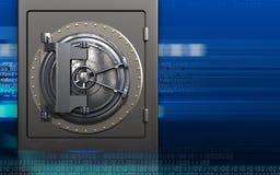 3d vault door safe. 3d illustration of metal safe with vault door over cyber background Stock Photos