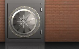 3d safe safe. 3d illustration of metal safe with vault door over red bricks background Royalty Free Stock Photography