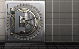 3d safe vault door. 3d illustration of metal safe with vault door over steel wall background royalty free stock images