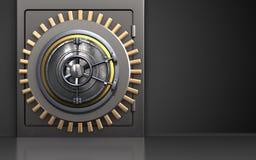 3d wheel door wheel door. 3d illustration of metal safe with wheel door over black background Royalty Free Stock Photography