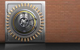 3d metal safe metal safe. 3d illustration of metal safe with wheel door over red bricks background Stock Images