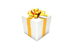 3d illustration: Metal silver gift box with golden metal ribbon / bow and tag on a white background isolated. Stock Image
