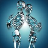3d illustration of metal skeleton couples stock illustration