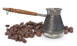 3d illustration metal Turk and coffee beans Stock Image