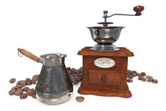 3d illustration metal Turk and coffee beans Royalty Free Stock Photos