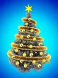 3d stars. 3d illustration of metallic Christmas tree over blue with yellow balls and frippery Stock Images