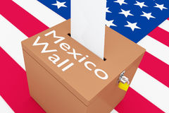 Mexico Wall concept. 3D illustration of Mexico Wall script on a ballot box, with US flag as a background Royalty Free Stock Photo