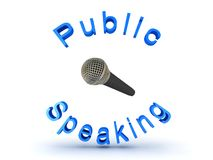 3D illustration of microphone and public speaking sign Stock Images