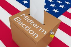 3D illustration of Midterm Election script on a ballot box, with US flag royalty free illustration