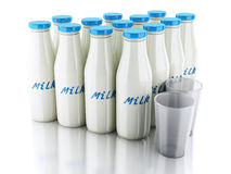 3d illustration. Milk bottles and glass on white background Stock Photo