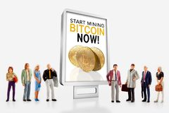 A group of people pose in front of a billboard to promote the purchase of bitcoin. 3D illustration: miniature people - a group of people pose in front of a Stock Photography