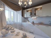 3D illustration, mix of kitchen without textures. 3D render, mix of kitchen without textures Royalty Free Stock Photography