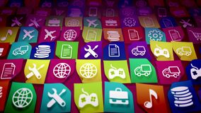 Mobile application icons shot askew. 3d illustration of mobile application icons with the images of a cell phone, truck, gear, music note, airplane, text Royalty Free Stock Photo